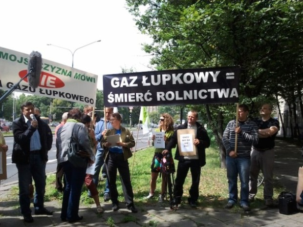 Villagers from Zurawlow protesting in Warsaw